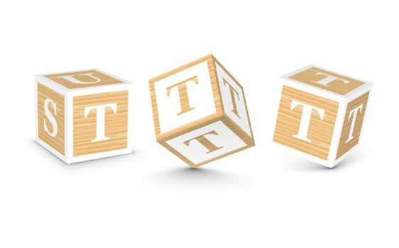 Vector letter T wooden alphabet blocks