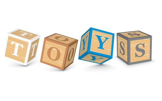 Word TOYS written with alphabet blocks