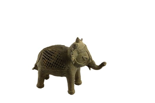Isolated Metal Elephant Statuette White Background