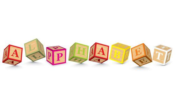 Word ALPHABET written with alphabet blocks