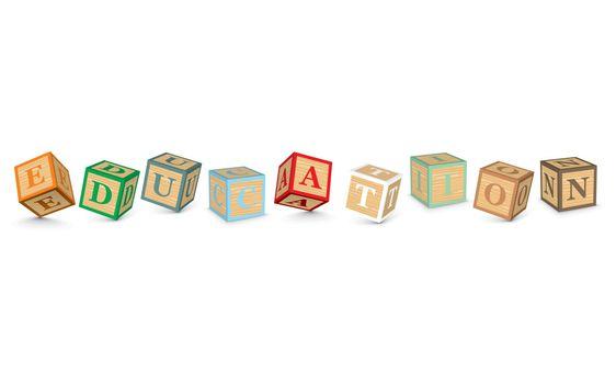 Word EDUCATION written with alphabet blocks