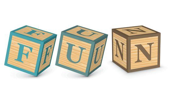 Word FUN written with alphabet blocks