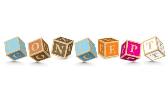 CONCEPT written with alphabet blocks - vector illustration