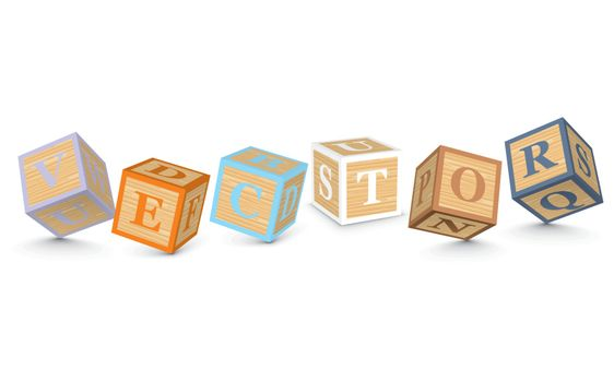 Word VECTOR written with alphabet blocks