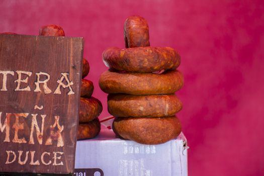 spanish artisan sausages in a medieval fair
