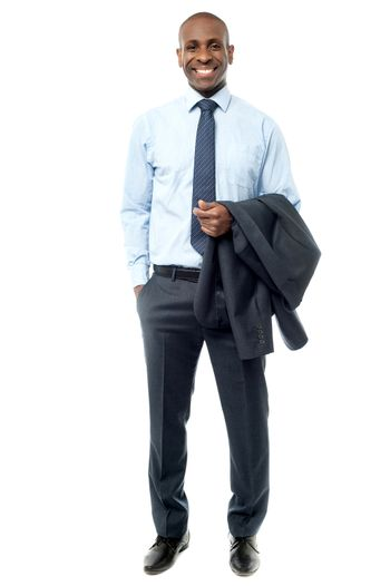 Businessman with suit on his hand