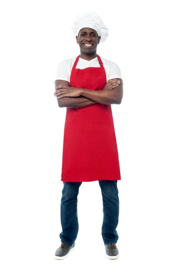 African professional chef with uniform