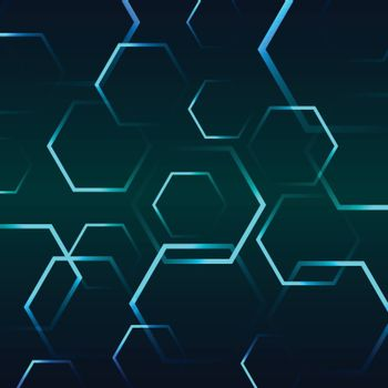 Abstract background with blue hexagon, stock vector
