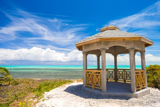 Traditional Caribbean arbor on shore