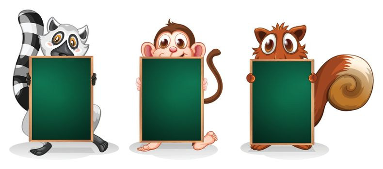 Illustration of the three animals with empty boards on a white background