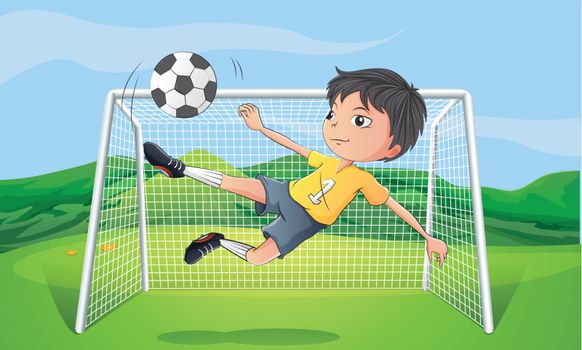 Illustration of a young man playing football
