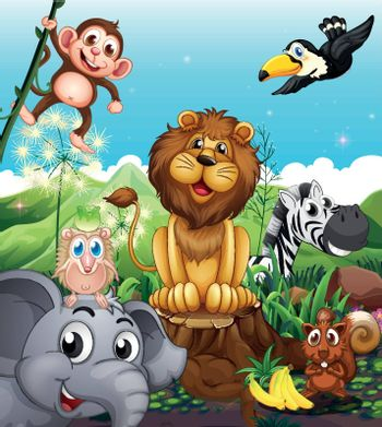 Illustration of a lion above the stump surrounded with playful animals