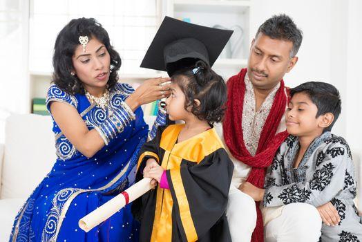 Kindergarten graduation with family