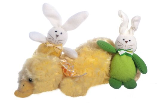 small plush animals on a white background