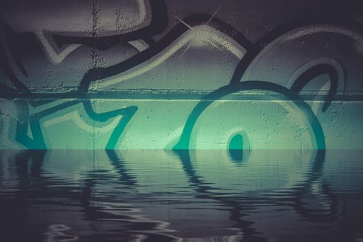 Graffiti reflection in the water, artistic chrome letters