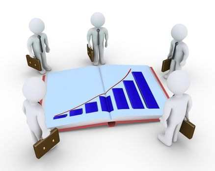 Businessmen are around an opened book with a graphic chart