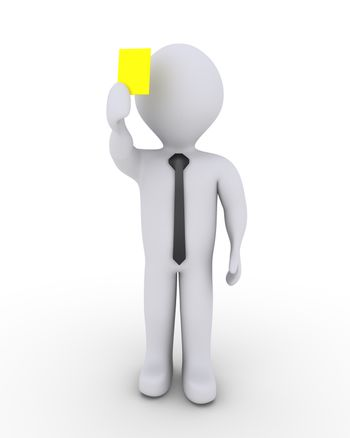 3d businessman is holding high a yellow card