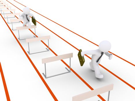 Businessman is hurdle racing and another is running without obstacles in his way