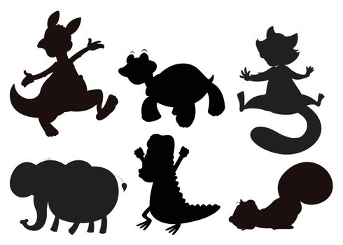 Illustration of the animals in brown, black and gray colors on a white background