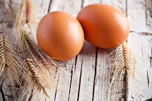 fresh eggs and wheat ears