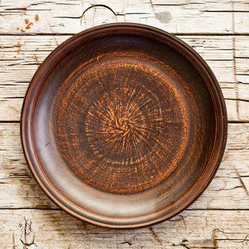empty brown ceramic plate