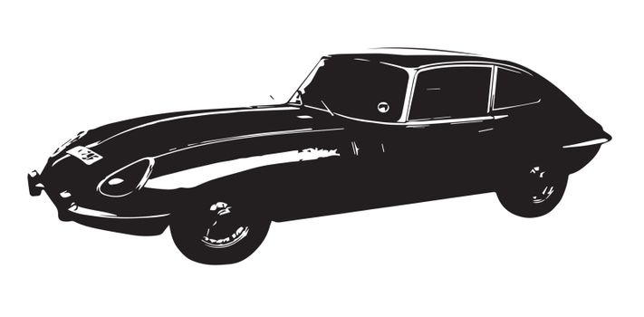 A classic sports car from the 1960's isolated on a white background