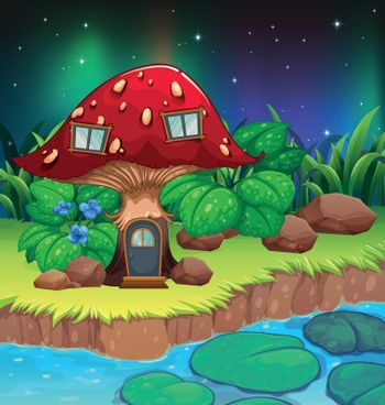 A red mushroom house near the river with waterlilies