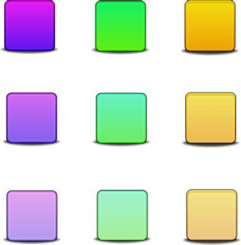 Colorful bevel styled icon set on white background, stock vector