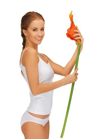 lovely woman with calla lilly