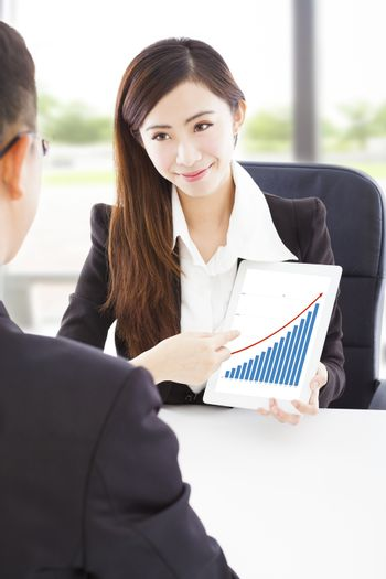 Business woman showing good financial situation