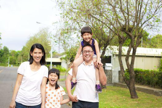 Happy family go hiking