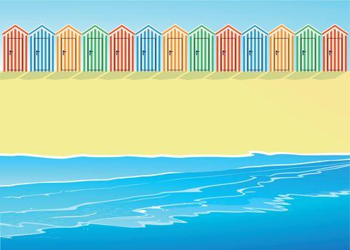 Beach with beach huts