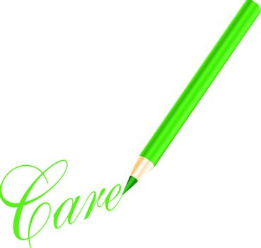 Green pencil and care letter isolated on white background