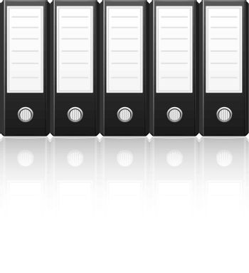 Black binders isolated on white background,vector illustration
