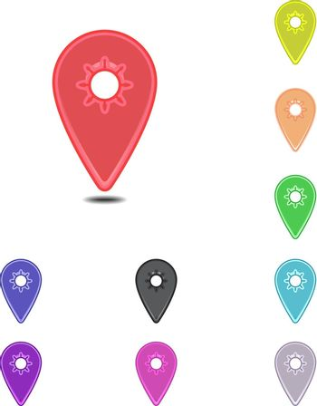 Colorful simple mapping pins on white background