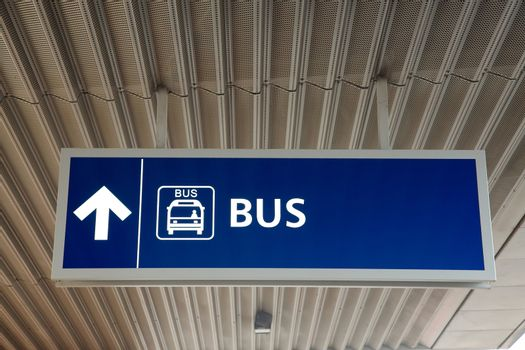 Bus sign at a transportation terminal