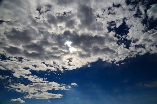beautiful clouds on deep blue sky
