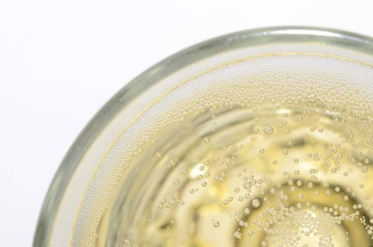 fresh sparkling champagne in glass