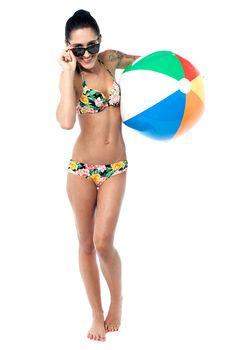 Beautiful young woman with bikini