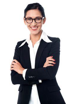 Successful corporate woman posing