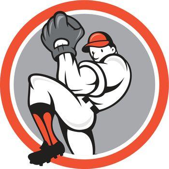 Baseball Pitcher Circle Cartoon