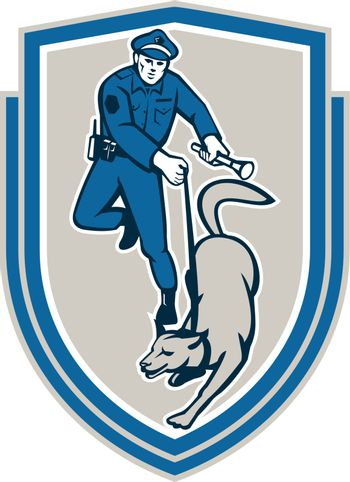 Policeman With Police Dog Canine Crest Retro
