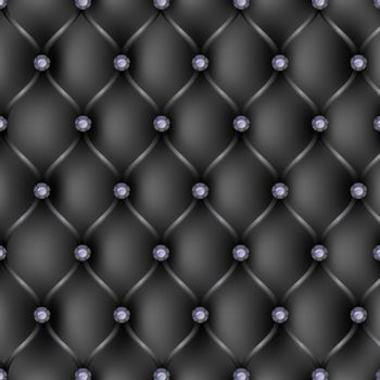 Black leather upholstery pattern background, vector illustration