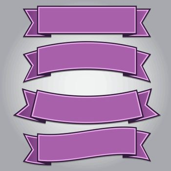 Set of purple ribbon banners isolated,vector illustration