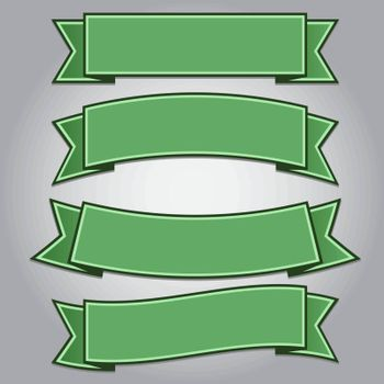 Set of green ribbon banners isolated,vector illustration