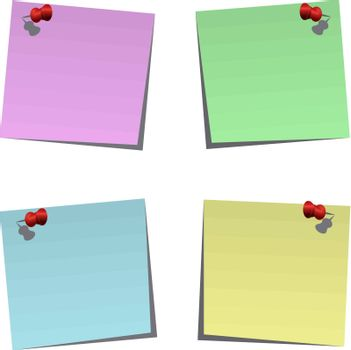 Set of blank post-it notes with push pins, vector illustration