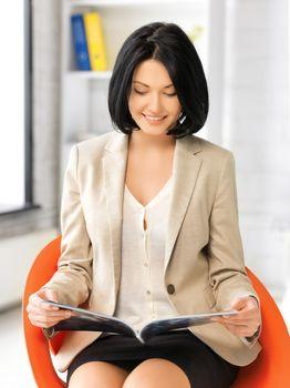 businesswoman with magazine