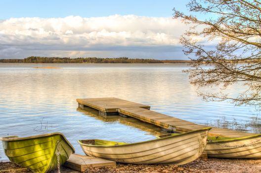 Rowboats by the lake