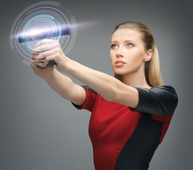 futuristic woman with gadget