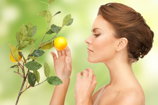 lovely woman with lemon twig